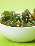 Green mussels in garlic sauce Royalty Free Stock Image