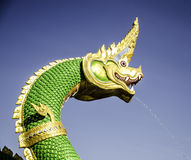 Green naga. Green naga at temple thailand Stock Photo
