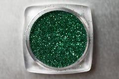 Green nail makeup glitter Stock Images