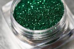 Green nail makeup glitter Royalty Free Stock Images