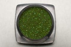 Green nail makeup glitter Stock Photography