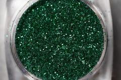 Green nail makeup glitter Royalty Free Stock Photography