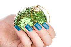 Green nail polish. Royalty Free Stock Image