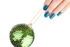 Green nail polish. Stock Photo