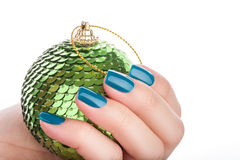 Green nail polish. Stock Images