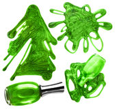 Green nail polish drops set Stock Photography