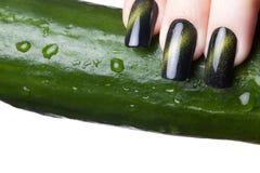 Green nail polish. Royalty Free Stock Photo