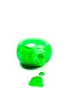 Green nails polish. On white background Royalty Free Stock Photography