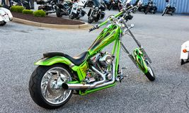 Green Naked Chopper Motorcycle on Parking Lot Stock Images