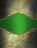 Green Nameplate With Gold Pattern On Grunge Texture. Element For Design. Template For Design. Copy Space For Ad Brochure Or Announ Stock Photography