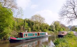 Green narrowboat Royalty Free Stock Photography