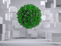 Green natural ball floating between cubes Stock Photos