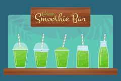 Green natural detox diet smoothie vector set. Healthy energy beverage, ice milk cocktail in jar, glass or bottle with summer sign Smoothie Bar for vitamin stock illustration