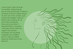 Green natural silhouette of a girl. With long hair as a background for text vector vector illustration