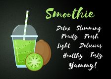 Green natural smoothie kiwi fruit shake banner. Green natural smoothie kiwi shake vector illustration. Sign Smoothie on black background, glass with cup and royalty free illustration
