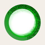 Green nature button with abstract leaves Stock Images