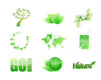 green nature concept icon set illustration design Royalty Free Stock Image