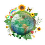 Green Nature Earth Icon. A circle of the Earth globe with atmosphere clouds on a white background. Various recycle and nature icons and symbols are around it Stock Photo