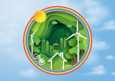 Green nature and eco city concept with rainbow and blue sky. Green abstract background design template.Paper art style of nature and eco concept environment Stock Photography