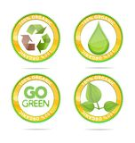 Green nature eco emblems set isolated Royalty Free Stock Photos