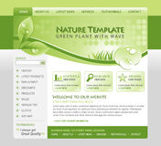 Green Nature Eco Web Template. A green, eco, nature environmental web template with a header and navigation. There are leafs and water drops of moisture in the vector illustration