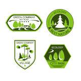 Green nature ecology company vector icons set. Green company vector icons set of urban outdoor park or eco village or forest trees and plants for horticulture Royalty Free Stock Photo