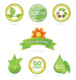 Green nature emblems and sign set Royalty Free Stock Images