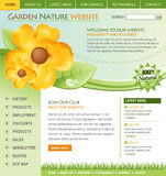 Green Nature Flower Website Template. A green nature flower internet web template for a garden or botanical business. The flower is yellow and there is stock illustration