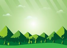 Green nature foest and mountains landscape background Royalty Free Stock Photos