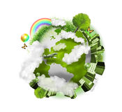 Green Nature Globe Earth. A green globe of the earth is isolated on a white background with clouds, a city, trees and grass around it. Use it for a nature Royalty Free Stock Images