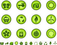 Green nature icons Stock Photo