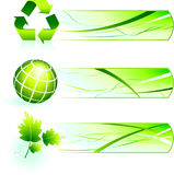 Green Nature Icons  with Banners Royalty Free Stock Photos