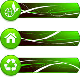 Green Nature Icons on Internet Buttons with Banners Royalty Free Stock Image