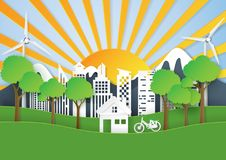 Green nature landscape and eco city paper art background Stock Image