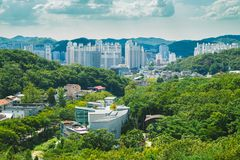 Green nature and modern cityspace in Anyang, Korea. Anyang, Korea - September 19, 2016 : Green nature and modern cityspace Royalty Free Stock Images