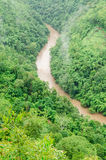 Green nature mountains and rivers flood during in the rainy season Stock Photos
