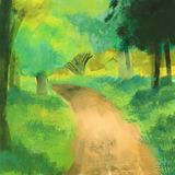 Green nature with path way backgrounds. Nature scene painting illustration stock illustration