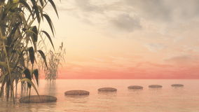 Green nature pebbles - 3D render Royalty Free Stock Photos