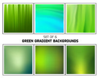 Green nature smooth blurred gradients vector backgrounds. Set of six abstract green nature smooth blurred gradients vector backgrounds for design Stock Photos