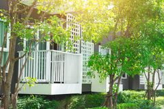 Green nature terrace of condominium apartment for eco good environment of living. With fresh air and ozone space stock photo