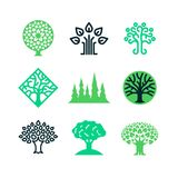 Green nature tree logo. Eco education vector concept. Illustration of tree eco with green leaf logo collection royalty free illustration