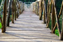 Old wooden bridge with handrails at the national park and sun light shadow on the ground. Green nature view stock photography