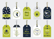 Green and navy blue Christmas assorted gift tags set Stock Photos