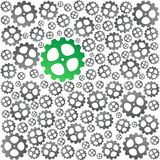 Green near gray gears background. Green gear and many gray gears Vector Illustration