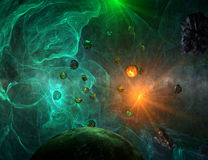 Green nebula with closeup view on planet and sun. With asteroids Stock Images