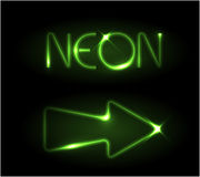 Green neon arrow Royalty Free Stock Photos