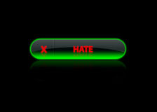 Green neon button hate. Black back ground royalty free illustration