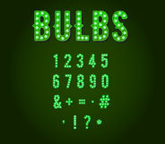 Green Neon Casino or Broadway Signs. Style light bulb Digits or Numbers in Vector Stock Images