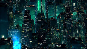 Green neon city skyscrapers modern technology concept Stock Image