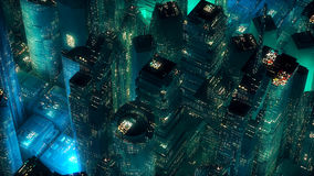 Green neon city skyscrapers modern technology concept Stock Images